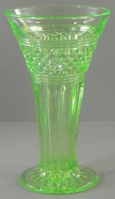 Vintage Uranium Glass Trumpet Vase