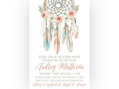 Boho Baby Shower Invitation Girl, Dream Catcher, Feather, Flower, Printable (255)