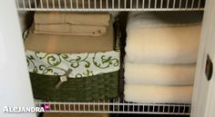 Simple Closet Organizing Tip: Hide Fitted Sheets Inside Baskets to Keep Your Linen Closet Looking Neat & Organized Linen Closet Organization, Organization Hacks, Organizing, Small Linen Closets, Simple Closet, Fitted Sheets, Getting Organized, Declutter, Charts