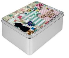 Gift box, Storage Box, Sewing Tin Gift Box, vintage tin box, decorated box, birthday box, best friend keepsake, storage box