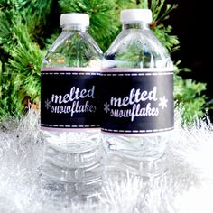Winter ONEderland Water Bottle Wraps { Melted Snowflakes Chalkboard Pink Chevron Snowflakes Girl 1st First Birthday Wrappers DIY 16.9 )
