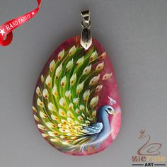 HAND PAINTED PEACOCK BIRD CHALCEDONY GEMSTONE PENDANT FOR NECKLACE ZL8016147 #ZL #PENDANT