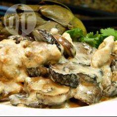 Fajitas de pollo en crema de champiñones y vino @ allrecipes.com.mx