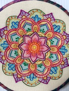 Color Me Bright Mandala Hand Embroidered Hoop by CapriciousArts