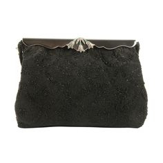 Vintage French Black Beaded Evening Bag/Enamel Marcasite Frame.   1940s-50s