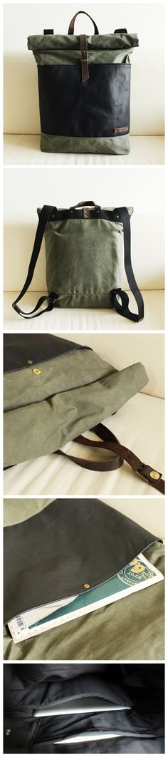 Handmade Waxed Canvas School Backpack Casual Daypacks Rucksack Travel Backpack Vintage Backpack Laptop Bag14006 -------------------------------- - 16oz waxed canvas - Cotton lining - Inside one pocket