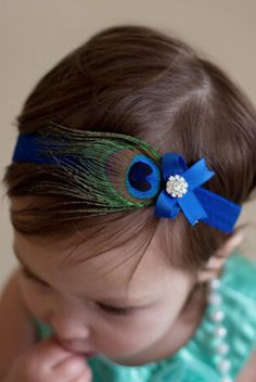 CCH128 Peacock Feather with Blue Bow Baby Prop Headband - LAST CALL