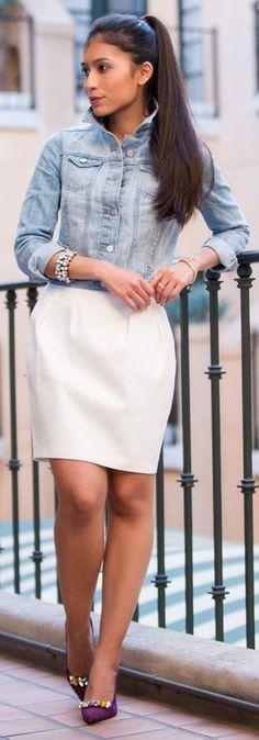 Cute White Dress Denim Jacket