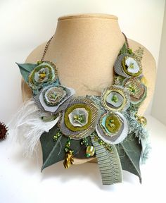 Morning beauty XIII, fiber art green necklace, fiber collage, bohemian, Coachella, featured In Autumn 2011 Belle Armoire Jewelry Magazine