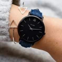 If you already have our Minuit Full Black and you are looking for a small update, a denim strap is a great idea  Find all our beautiful straps at www.clusewatches.com and select the perfect one for you #CLUSE