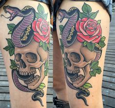 A healed picture of the skull, rose and snake tattoo I did on Sarah Samples