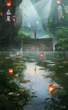 Chinese Landscape Illustration Art Of Animation 19 Best Ideas Fantasy Artwork, Fantasy Art Landscapes, Fantasy Landscape, Landscape Art, Landscape Sketch, Yuumei Art, Japon Illustration, Digital Illustration, Art Illustrations