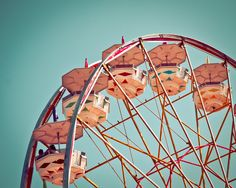 Teal Sky and Ferris Wheel End of Summer 8 x 10 Fine Art Photography Print. $25.00, via Etsy.