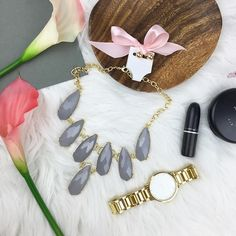 Beautiful Gray & Gold Statement Necklace Gray and gold statement necklace with matching earrings. Adjustable closure.   ▪️NWT  No Trade Jewelry Necklaces