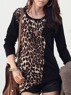 Leopard Printed Patchwork Long Sleeve T-shirt