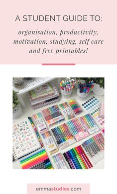student guide to studying, productivity, organisation, motivation, studying, self care and printables