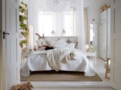 IKEA bed in front of windows