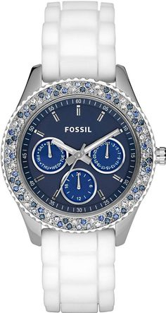 #Fossil #Watch , Fossil ES2871 Ladies Stella White Blue Watch...$199.95