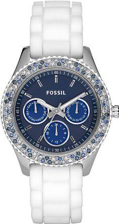 #Fossil #Watch , Fossil ES2871 Ladies Stella White Blue Watch...$199.95