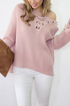 Pink Lace Up V Neck Sexy High Low Sweater