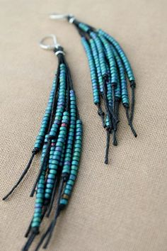 Vegan Feather Glass and Hemp Earrings by PerpetualSunshine111, $28.00