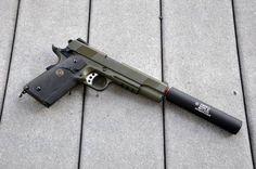 Socom MEU SOC 1911 Full Metal Airsoft Gas Pistol (OD) w/ Gemtech Suppressor & Hard Case by MEU SOC 1911. $199.95