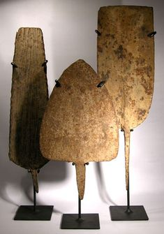 """African """"Hoe"""" Currency — Three large forged iron spades, once used and traded as currency by the tribes of Nigeria and Cameroon"""