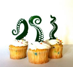 OCTOPUS TENTACLE Cupcake Toppers Pirate Themed Birthday Cupcake Toppers Wedding Cupcake Toppers Acrylic At Sea Octopus Tentacles