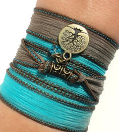 Silk Wrap Bracelet Yoga Jewelry Tree of by BohemianEarthDesigns, $26.95