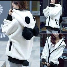 Cute Bear Ear Panda Winter Warm Hoodie Coat Women Hooded Jacket Outerwear - Bannaga ⭐ Express