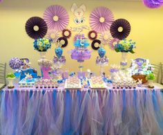 Pretty dessert table at a bunny baby shower party! See more party ideas at CatchMyParty.com!