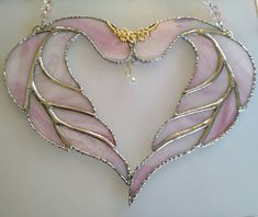 Stained glass heart wings Pink stained glass by OrnateAccents