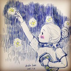 Collected stars  Ball pen, sketching , cute , star,blue,star,night