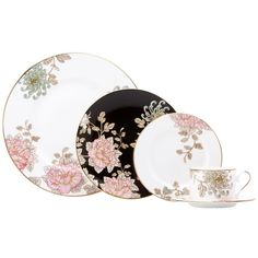 Lenox Marchesa Painted Camellia 5-piece Dinnerware Place Setting ($116) ❤ liked on Polyvore featuring home, kitchen & dining, dinnerware, white, dinner plates, white dinner plates, floral dinnerware sets, black and white dinner plates and lenox dinnerware