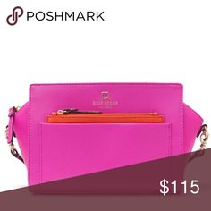 💥1 DAY SALE💥 NWT Kate Spade Pink Cross-body ✨make me an offer!✨ NWT, never used. Perfect spring/summer bag. Really cute. Reasonable offers welcome! Slip open pocket and zip closure coin pocket in front. Inside slip open pocket. Dimensions are about 12Lx 6.4H x 2.4 D. Dust bag not included. kate spade Bags Crossbody Bags
