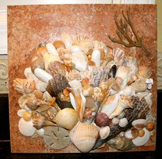 "Art ~ Sea Shells on Ceramic Tile Sculptures from ""icyndi creations"" $175"