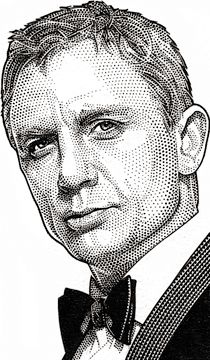 Wall Street Journal Hedcut Portfolio by acclaimed illustrator and portrait artist Randy Glass including celebrities, pen & ink, stipple, portraits, pointillism. Portrait Sketches, Portrait Illustration, Stippling Art, Daniel Craig, Craig 007, Craig James, Photoshop, Scratchboard, Black And White Drawing
