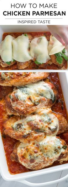 How to make Chicken Parmesan with a fresh tomato sauce and basil ~ Gooey cheese and fresh basil tops crispy breaded chicken breast lying on a bed of light marinara sauce