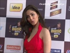 yami gautam beautiful in red at radio mirchi music awards 2013.