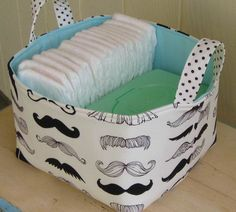 Fabric Storage Bin- Organizer- Diaper Caddy- Mustache- Black And White via Etsy Jordan Baby Shower, Baby Boy Shower, Baby Shower Gifts, Boy Nursery Themes, Baby Boy Nurseries, Mustache Nursery, Little Man Shower, Baby Crib Sheets, Diaper Caddy
