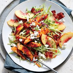 BBQ Chicken with Peach and Feta Slaw - Quick and Easy Summer Recipes - Cooking Light
