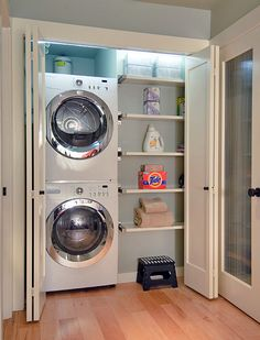 10 Awesome Ideas for Tiny Laundry Spaces • Lots of Ideas and Tutorials! Including, from houzz, this clean and simple laundry closet.