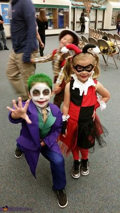 Eileen: My son Joseph is wearing Joker. He loved Joker growing up so he decided to be Joker and his best friend is Harley Quinn.