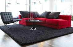 red & grey living room