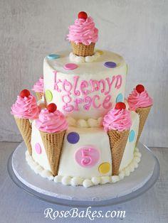 Ice Cream Cones Birthday Cake with Polka Dots and Cherries (Cream Cake Design) Ice Cream Cone Cake, Ice Cream Theme, Ice Cream Party, Cream Cake, Cake Cone, Gateau Iga, Mini Cakes, Cupcake Cakes, Shoe Cakes