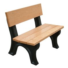 Outdoor Polly Products Landmark 4 ft. Commercial Grade Recycled Plastic Armless Park Bench - ASM-LB4B-01-BLK-BLK