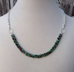 Ruby in Zoisite and Sterling Silver Necklace by EastVillageJewelry, $85.00 Handcrafted, handmade jewelry  Free shipping within the U.S. www.eastvillagejewelry.etsy.com