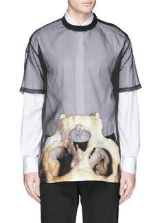 Inverted monkey skull print silk organza T-shirt