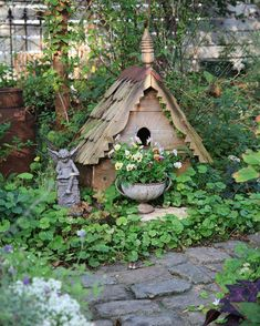 Instagram Fairy Garden Pots, Garden Paths, Fairy Houses, Herbs, Cottage, Outdoors, Bird, Outdoor Decor, Beautiful