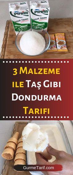 Stone-like ice cream recipe with 3 ingredients - gourmet 3 Malzeme İle Taş Gibi Dondurma Tarifi – Gurme Tarif cream Up - Gourmet Recipes, Dessert Recipes, Cooking Recipes, Good Food, Yummy Food, Cookery Books, Vegetable Drinks, Delicious Fruit, Almond Recipes